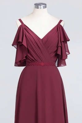 Sexy A-line Flowy Alluring V-neck Straps Sleeveless Ruffles Floor-Length Bridesmaid Dress UK UK with Pearls_4
