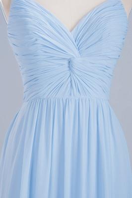 A-Line Light Chiffon V-Neck Spaghetti Straps Sweep Train Bridesmaid Dress UKes UK UK_7