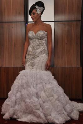 New Arrival Elegant Mermaid Sequins Appliques Strapless Sleeveless Long Prom Dress UK_1
