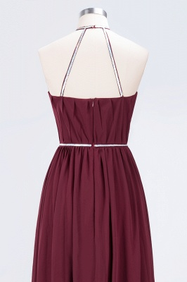 Sexy A-line Flowy Halter Sleeveless Floor-Length Bridesmaid Dress UK UK with Beading Sash_6