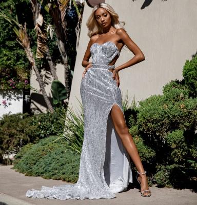 Unique Cute strapless Sleeveless Elegant Mermaid Front Split Prom Dress UK UK_1