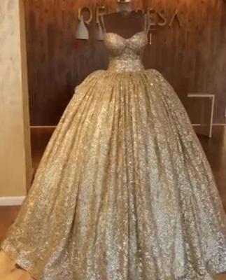 Luxurious Spaghetti Straps SleevelssBall Gown Crystals Prom Dress UKes UK UK_4