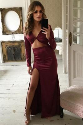 Unique Long Sleeves V-Neck Front Slipt Column Prom Dress UK UK_1