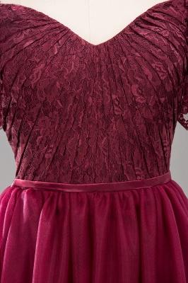 A-Line Light Chiffon Lace Cute strapless Spaghetti Straps Short-Sleeves Sweep Train Bridesmaid Dress UKes UK UK with Ruffles_7