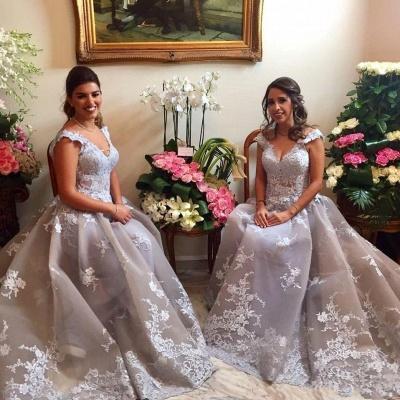 Sexy Straps Appliques V-Neck Sleeveless A-Line Bridesmaid Dress UK_3