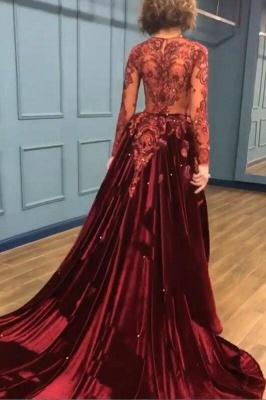Sparkle Beads Burgundy Velvet Long Sleeves Prom Dress UKes UK UK with Appliques BC0731_1