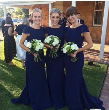 Modern Short Sleeves Royal Blue Elegant Mermaid Sweep Train Bridesmaid Dress UK_1