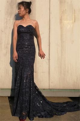 Sexy Black Cute strapless Appliques Sleeveless Elegant Mermaid Prom Dress UK UK_1