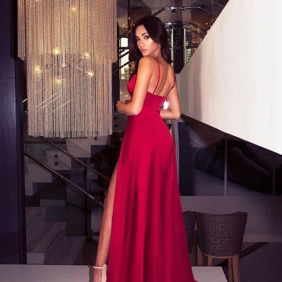 Elegant Hot V-Neck Spaghetti Straps A-Line Front Split Prom Dress UK UK_3
