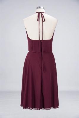 Sexy A-line Flowy Halter Sleeveless Short length Bridesmaid Dress UK UK with Ruffles_2