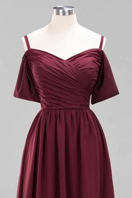A-Line Light Chiffon V-Neck Spaghetti Straps Short-Sleeves Sweep Train Bridesmaid Dress UKes UK UK with Ruffles_11