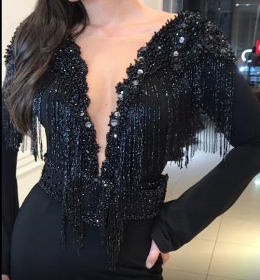 Elegant Black Open Back Long Sleeves Elegant Mermaid Tassels Alluring V-neck Beadings Long Prom Dress UKes UK UK_6