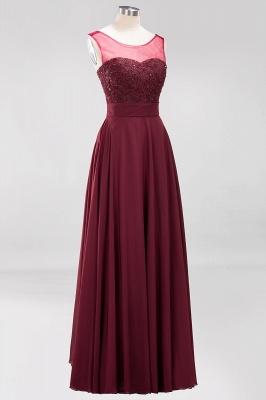 A-Line Light Chiffon Tulle Lace Beadings Jewel Sleeveless Sweep Train Bridesmaid Dress UKes UK UK with Sash_3