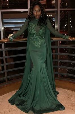 Sexy Scoop Neck Long Sleeves Appliques Elegant Mermaid Prom Dress UK UK_1
