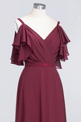 Sexy A-line Flowy Alluring V-neck Straps Sleeveless Ruffles Floor-Length Bridesmaid Dress UK UK with Pearls_5