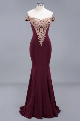 Amazing Off-The-Shoulder Floor-Length Elegant Mermaid Appliques Zipper Prom Dress UK_3