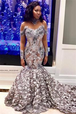 Elegant Mermaid Off-the-Shoulder Long-Sleeves Long Prom Dress UK with Flower_1