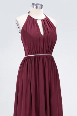 Sexy A-line Flowy Halter Sleeveless Floor-Length Bridesmaid Dress UK UK with Beading Sash_5
