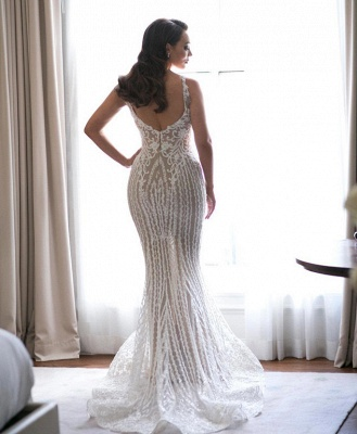 Elegant Spaghetti Straps Sleeveless Sexy Mermaid Appliques Wedding Dress_3
