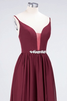 Sexy A-line Flowy Appliques Spaghetti-Straps Deep-Alluring V-neck Sleeveless Floor-Length Bridesmaid Dress UK UK with Ruffles_5