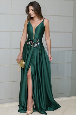 Deep Alluring V-neck Spaghetti Straps Sleeveless Side-Slit Elegant Sexy A-line Prom Dress UK_1