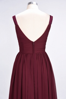 Sexy A-line Flowy Straps Alluring V-neck Sleeveless Backless Floor-Length Bridesmaid Dress UK UK with Ruffles_7