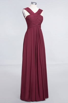 Sexy A-line Flowy Alluring V-neck Straps Sleeveless Floor-Length Bridesmaid Dress UK UK with Ruffles_3