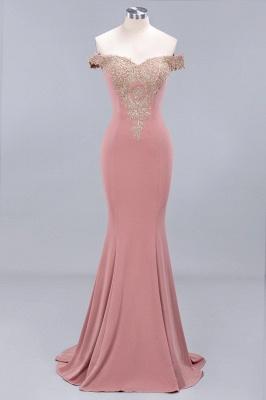 Amazing Off-The-Shoulder Floor-Length Elegant Mermaid Appliques Zipper Prom Dress UK_1