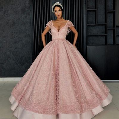 Beading Alluring V-neck Cap-Sleeves Prom Dress UK_6