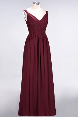 Sexy A-line Flowy Straps Alluring V-neck Sleeveless Backless Floor-Length Bridesmaid Dress UK UK with Ruffles_4