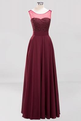 A-Line Light Chiffon Tulle Lace Beadings Jewel Sleeveless Sweep Train Bridesmaid Dress UKes UK UK with Sash_1
