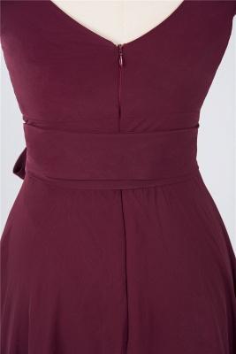 Sexy A-line Flowy Straps Alluring V-neck Sleeveless Ruffles Short length Bridesmaid Dress UK UK with Bow Sash_4