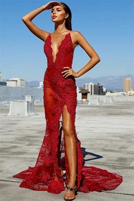Column Tulle Lace Deep-V-Neck Spaghetti-Straps Open Back Prom Dress UK UK_1