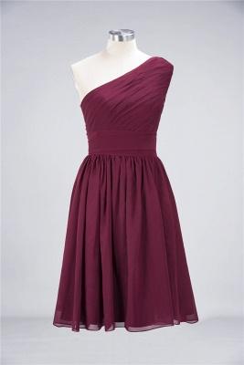 Sexy A-line Flowy One-Shoulder Sleeveless Short length Bridesmaid Dress UK UK with Ruffles_2