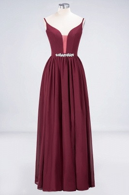 Sexy A-line Flowy Appliques Spaghetti-Straps Deep-Alluring V-neck Sleeveless Floor-Length Bridesmaid Dress UK UK with Ruffles_1