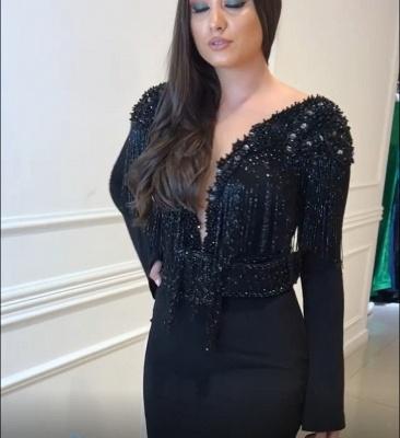 Elegant Black Open Back Long Sleeves Elegant Mermaid Tassels Alluring V-neck Beadings Long Prom Dress UKes UK UK_5