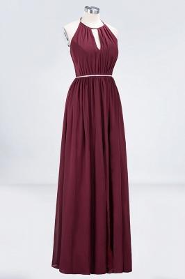 Sexy A-line Flowy Halter Sleeveless Floor-Length Bridesmaid Dress UK UK with Beading Sash_3