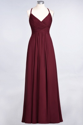 Sexy A-line Flowy Spaghetti-Straps Alluring V-neck Sleeveless Floor-Length Bridesmaid Dress UK UK with Ruffles_35