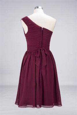 Sexy A-line Flowy One-Shoulder Sleeveless Short length Bridesmaid Dress UK UK with Ruffles_3
