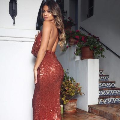 Elegant Hot V-Neck Halter Open Back Sleeveless Elegant Mermaid Prom Dress UK UK_6