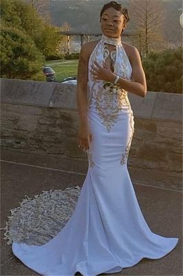 Gorgeous Halter Deep V-Neck Sleeveless Appliques Elegant Mermaid Prom Dress UK UK_2