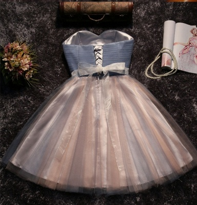 Glittering Sexy A-line Lace Strapless Sleeveless Prom Dress UK with Bow_3