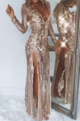 Elegant Hot Deep V-Neck Long Sleeves Front Slipt Column Prom Dress UK UK_1