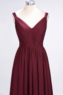 Sexy A-line Flowy Straps Alluring V-neck Sleeveless Backless Floor-Length Bridesmaid Dress UK UK with Ruffles_5