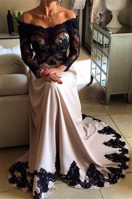Unique Off-the-Shoulder Appliques Long Sleeves A-Line Prom Dress UK UK_1