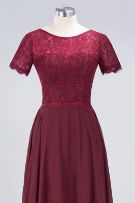 Sexy A-line Flowy Lace Round-Neck Short-Sleeves Floor-Length Bridesmaid Dress UK UK_4