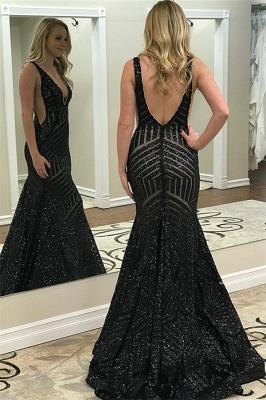Stunning Straps Sleeveless Deep V-Neck Elegant Mermaid Prom Dress UK UK_2