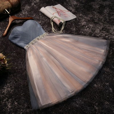 Glittering Sexy A-line Lace Strapless Sleeveless Prom Dress UK with Bow_4