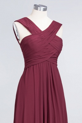 Sexy A-line Flowy Alluring V-neck Straps Sleeveless Floor-Length Bridesmaid Dress UK UK with Ruffles_5