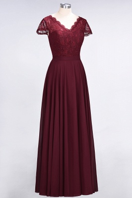 Sexy A-line Flowy Lace Alluring V-neck Cap-Sleeves Floor-Length Bridesmaid Dress UK UK_3